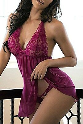 Plus Size Women Sexy Lingerie Lace Dress G-string Underwear Babydoll Sleepwear