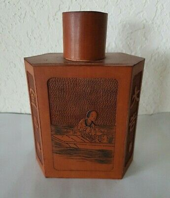 Vintage  Old Hand Carved CHINESE EXAGONAL WOODEN TEA CADDY