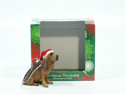 Sandicast Ornament 2010 Bloodhound Sitting with Santa Hat - #XSO01301-DB