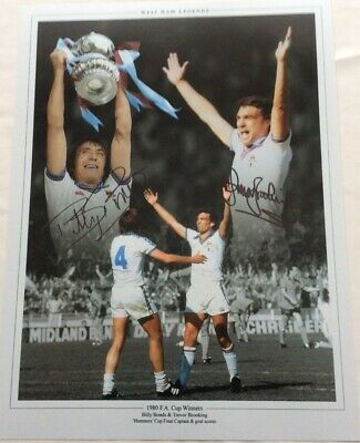 Billy Bonds And Trevor Brooking Hand Signed West Ham United Football 12x16 Photo