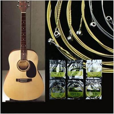 6pcs Guitar Strings Gold Silver Acoustic Metal Steel Set Replacement New 6A