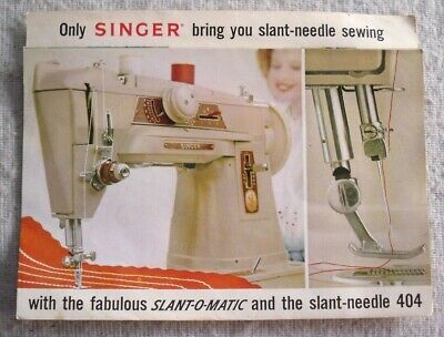 Vintage Singer 'SLANT-O-MATIC' & 404 Sewing Machine: Sales Brochure, Complete.