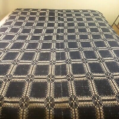 1800s Antique Vintage Overshot Blue White Twin Woven Coverlet Blanket Squares