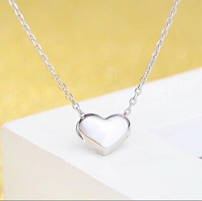 Heart Charm Pendant Chain Necklace 925 Sterling Silver Women Girl Jewellery Gift