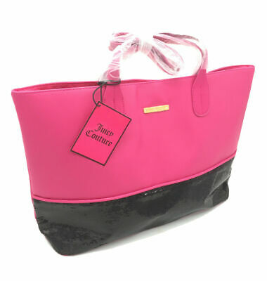 New Juicy Couture Large Pink/Black Sequin Tote Bag Beach Bag