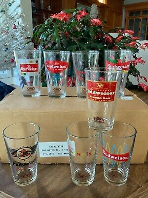 Set of BUDWEISER RETRO PINT COLLECTOR SERIES BEER Glasses All 8 Years NEW in BOX