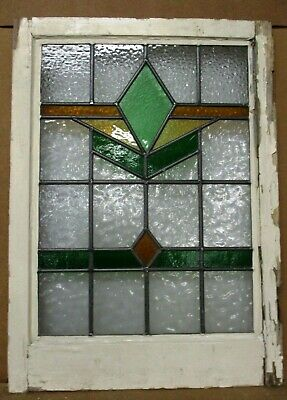 "MIDSIZE OLD ENGLISH LEADED STAINED GLASS WINDOW Pretty Geometric 20.25"" x 28"""