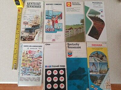 HUGE LOT OF 35 MAPS HIGHWAY GAS STATION ADVERTISMENT 1970s - 1980s ROAD