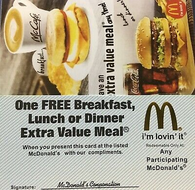 (1O) McDonald's Extra Value Meals!! No Exp Date! Gold Foil Holo Arch!!