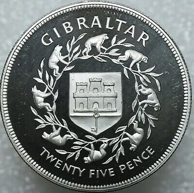 1977 Gibraltar Silver Proof 25 Pence Crown