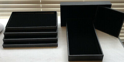 6 Black Stackable Jewelry Display Trays w/ Felt Inserts and 1 Ring Display Tray
