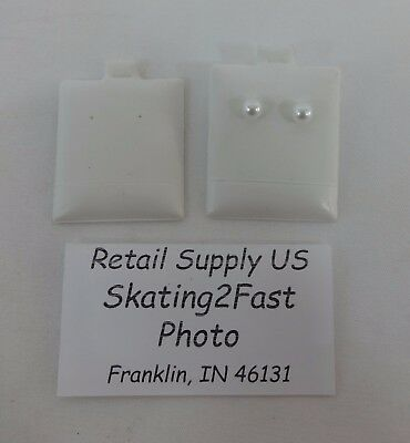 """1.5"""" x 1.75"""" White Plain Puffed Earring Cards Hold Qty. 50"""