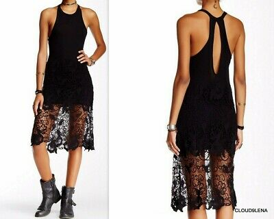 NWT FREE PEOPLE Anthropologie 'Nora' Crochet Lace Overlay Racerback Tank Dress M