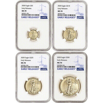2020 American Gold Eagle 4-pc Year Set - NGC MS70 Early Releases