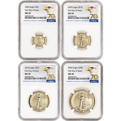 2020 American Gold Eagle 4-pc Year Set - NGC MS70 First Day of Issue Grade 70
