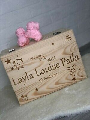 Large Wooden Personalised Baby Memories Keepsake Box