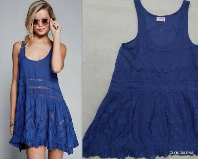 NWT FREE PEOPLE Anthropologie She Swings Lace Insert Trapeze Top XS Dotted Blue
