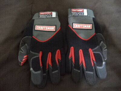 Rare Craftsman Mechanics Gloves Washable Durable Red Black Gray Size Large Pair