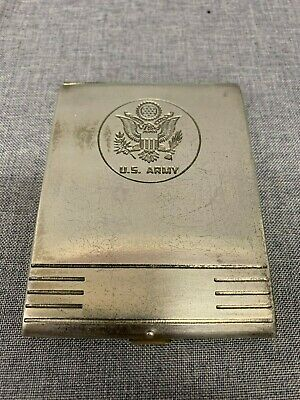 Vintage US Army STerling Silver Cigarette Case Free Shipping