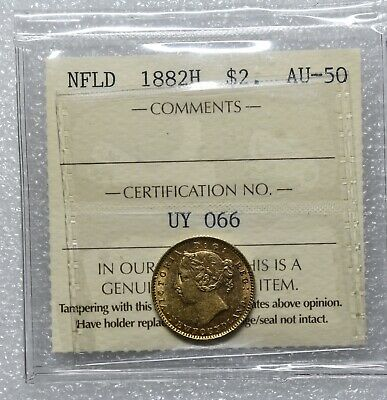 1882 H Canada Canadian Newfoundland $2 Two Gold