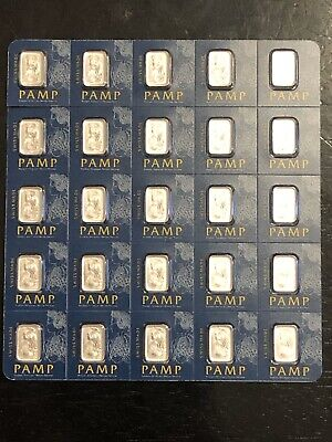 Sheet Of 25 / 1 GRAM PAMP SUISSE LADY FORTUNA PLATINUM BAR 999.5 FINE IN ASSAY