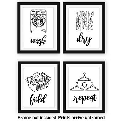 Laundry Room Signs(Set of 4 Unframed-8x10Inches) Wall Art Decor Prints, Unframed