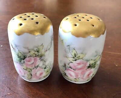 Antique Hutschenreuther Hand-painted Porcelain & Gold Salt & Pepper Shakers
