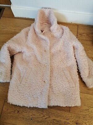 Girls 7-8 Teddy Bear Style Coat Baby Pink