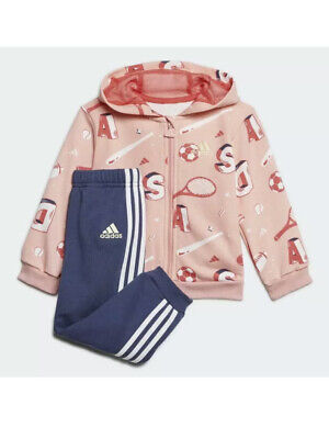 Adidas Girls Tracksuit Age 2-3 Years New Tags Navy & Pink Printed