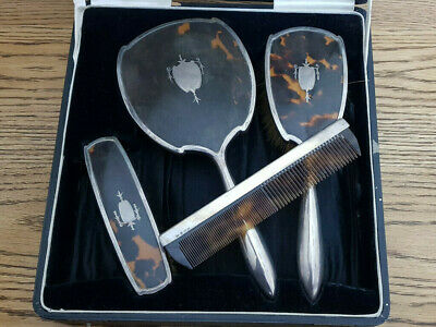 Antique Solid Silver Brush And Mirror Set Boxed