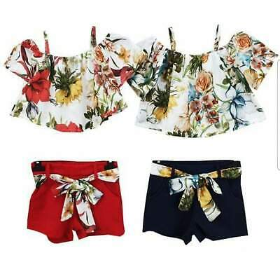 kids girls matching floral top & short set in red or navy  ages 3-12