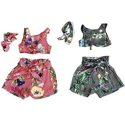 Kids Girls Top Shorts & Headband 3 Piece Set red black ages 6 months - 14 years