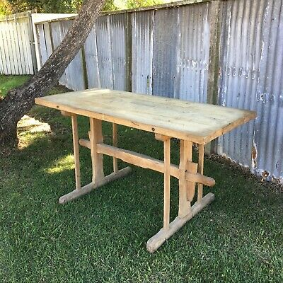 Antique French Scrubbed Oak Factory Table, Great Island Bench, Potting Table