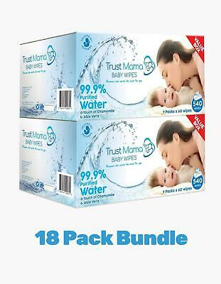 Trust Mama Water Wipes Natural Wipes Chemical Free for Sensitive Skin 18 Packs