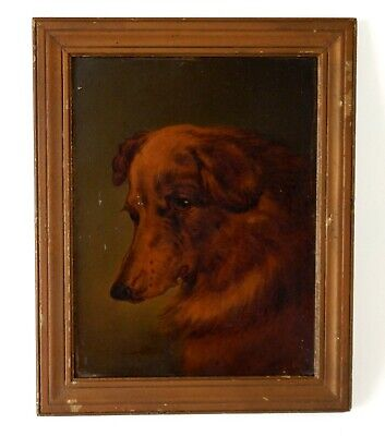 Antique Victorian 19th Century Painting Portrait of a Dog in Original Frame