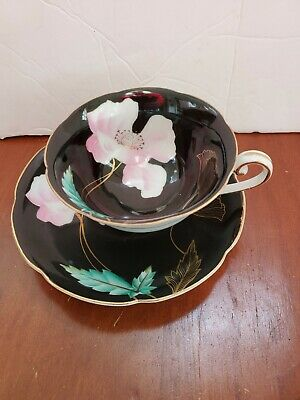 OCCUPIED Japan PINK POPPY on BLACK GOLD TEA CUP & SAUCER Trimont China