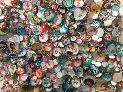 BB CHARACTER GLASS CABOCHONS mixed pack of 50 kids craft flatbacks 12 & 20mm
