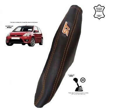 Handbrake Gaiter For Ford Fiesta 2002-2008 Leather Orange Embroidery