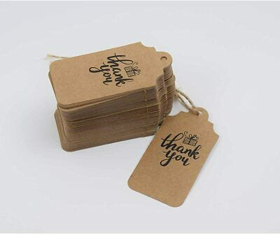 "100Pcs Kraft Paper Gift Tag Hang Craft Tags String Label "" Thank You"" with Rope"
