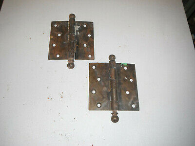 Lot of 2 Antique Solid Brass Ball End Hinges 4 x 4 (5269)