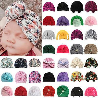 Toddler Kid Baby Girl Turban Beanie Bow Flower Headband Knot Hat Head Wrap Cap