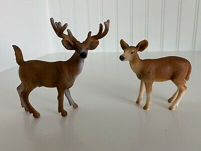 Retired Schleich Christmas Village Figures Red Deer Cow and Deer Calf