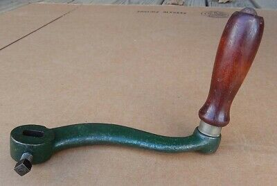 Very Nice Antique CAST IRON Small Hand Crank Old Green Paint