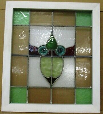"""MIDSIZE OLD ENGLISH LEADED STAINED GLASS WINDOW With Bulls Eyes 22.5"""" x 25.5"""""""