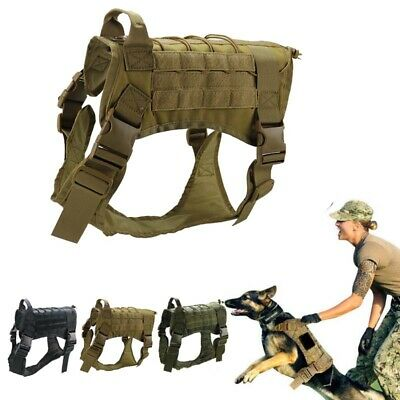 Tactical K9 Training Dog Harness Military Police-Adjustable Molle Nylon Vest 1pc