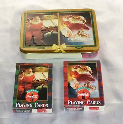 COCA COLA Collector Tin Container 2 Packs Playing Cards Santa Drinking Coke 1997