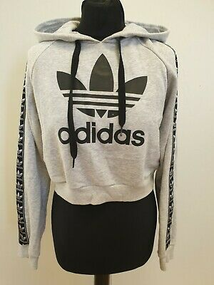 Gg675 Womens Adidas Originals Grey Cropped Pullover Hoodie Uk 8 Eu 36