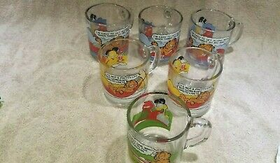 Adorable Vintage Set of 6 - Garfield and Odie glass mugs, McDonalds 1978 - 1980