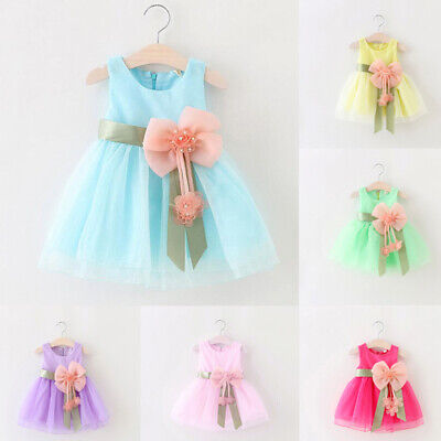 Children Kids Flower Girls Toddlers Lovely Round Neck Sleeveless Princess Dress