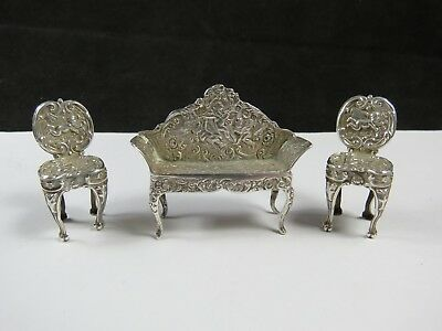 Antique Miniature Silver Dolls House Sofa & Two Chairs Birmingham Levi Salaman